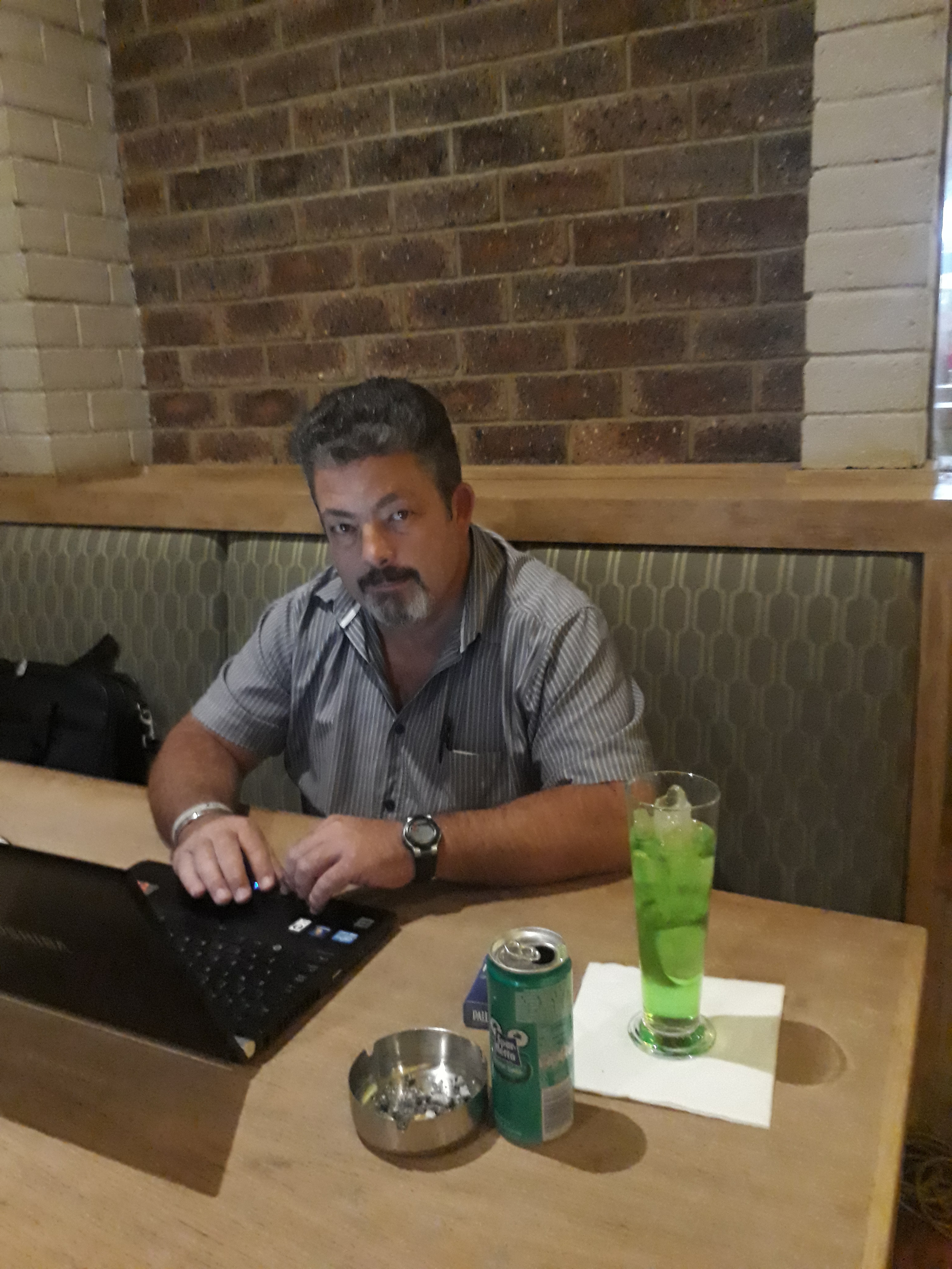 Working at a coffee shop in sunny South Africa